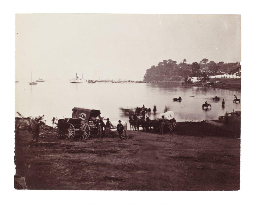 Fotó: Timothy H. O'Sullivan (?): Distant View of Landing, Belle Plaine, Virginia, 1864