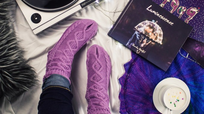 Here are 40 self-care ideas that don't cost anything, because you shouldn't have to spend money to feel good. Image description of record player and woman sitting with purple socks.