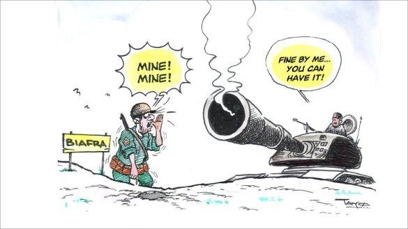 Cartoon of a scene from the Biafran war © Tayo Fatunla