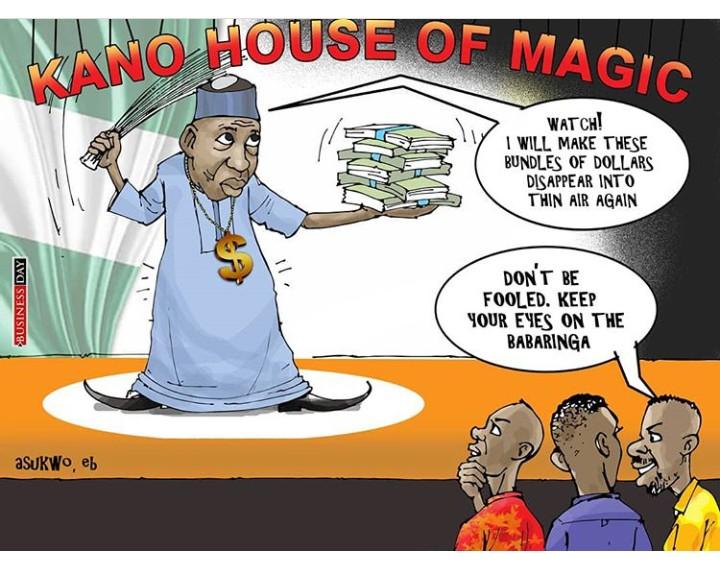 Ganduje monopolises corruption in Kano, brags of PhD in Pocketing Dollars