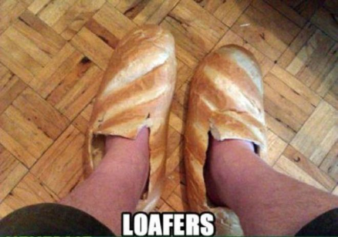loafers bread shoes pun