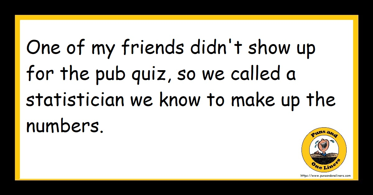 One of my friends didn't show up for the pub quiz, so we called a statistician we know to make up the numbers.