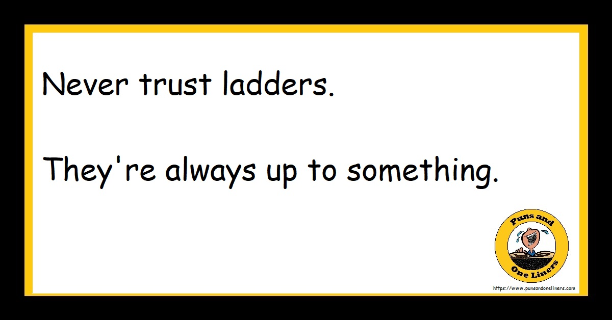 Never trust ladders. They're always up to something.
