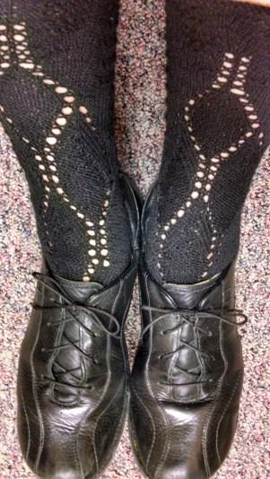 """Black lace """"Milkmaid's"""" upstream socks"""