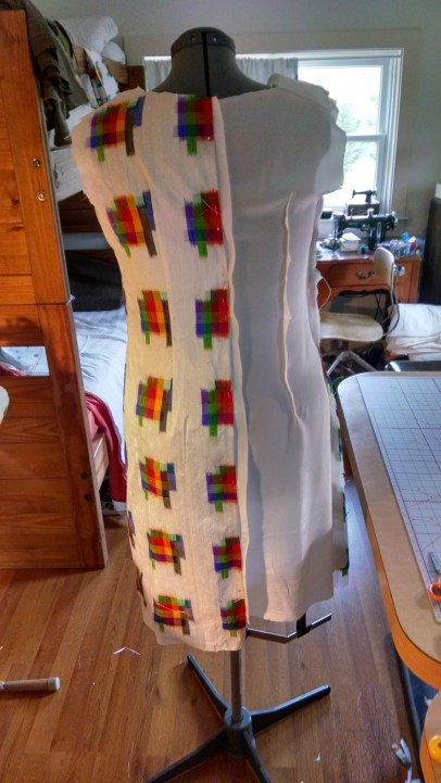 Silk lining for body of dress.