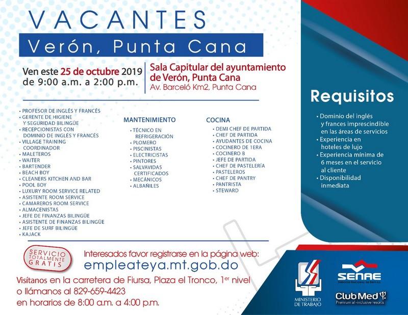 Jornada de empleo para cubrir puestos en Club Med Miches • Online Punta  Cana Bavaro