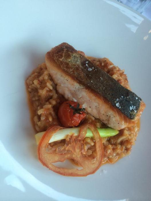 Sundried tomato and Vegetable risotto with Grilled Salmon