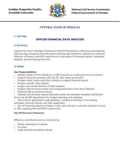 Officer Financial Data Analysis  Puntland Post
