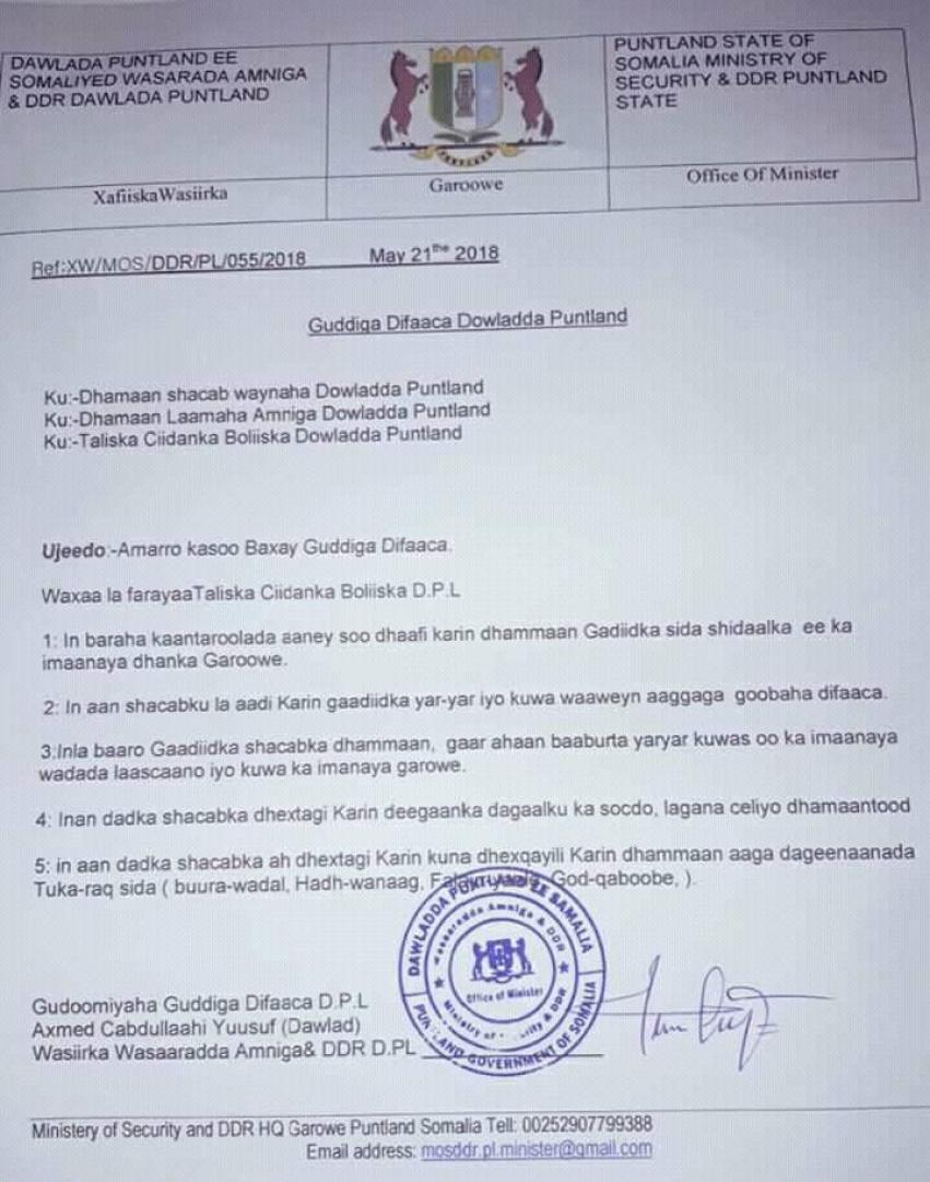 Puntland oo amartey in la hakiyo isu socodka Garoowe iyo Laascaano.