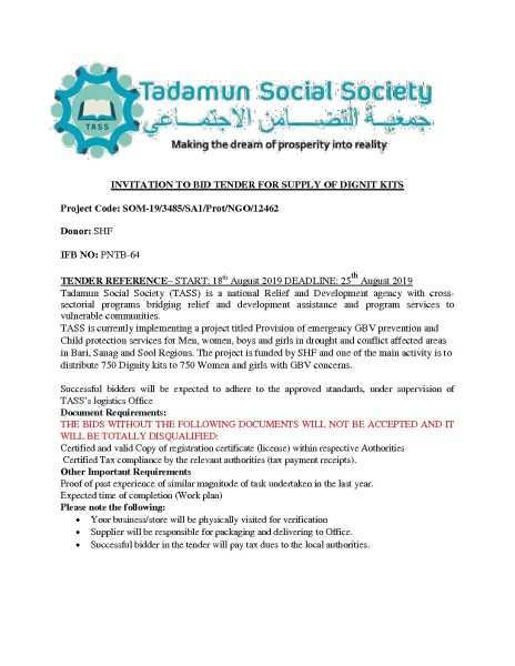 TENDER FOR DELIVERY OF DIGNITY KITS – Puntland Post