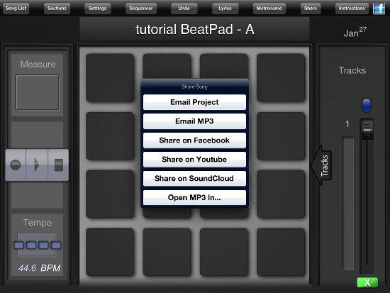 Opción compartir - crear beats con la aplicación BeatPad
