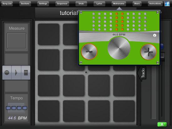 metronomo en la aplicación BeatPad