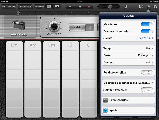 Editar acordes en GarageBand iOS
