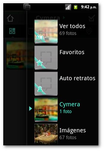 Interfaz de usuario en cymera