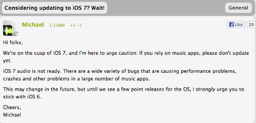 Equipo de Audiobus alerta sobre iOS 7