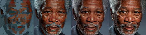 Dibujo de Morgan Freeman en iPad