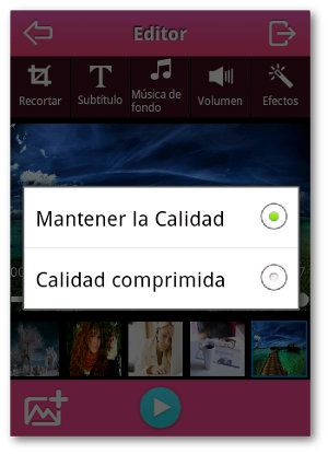 Editor de videos con fotos en Android