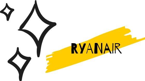 prenotare volo ryanair articolo copertina con scritta ryanair su striscia gialla e sfondo bianco con stelline nere