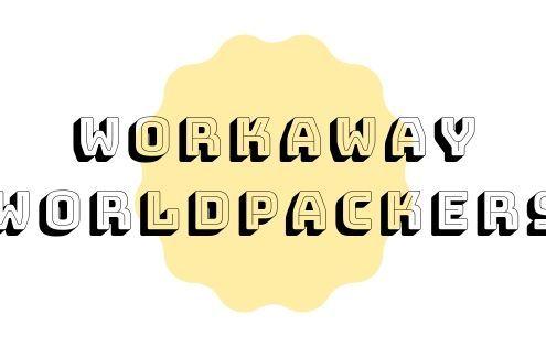 titolo articolo workaway e worldpackers su sfondo bianco, scritta in nero, pallina gialla in centro