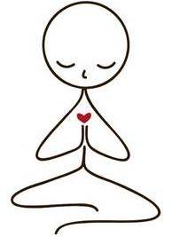 immagine figura che prega con cuore rosso