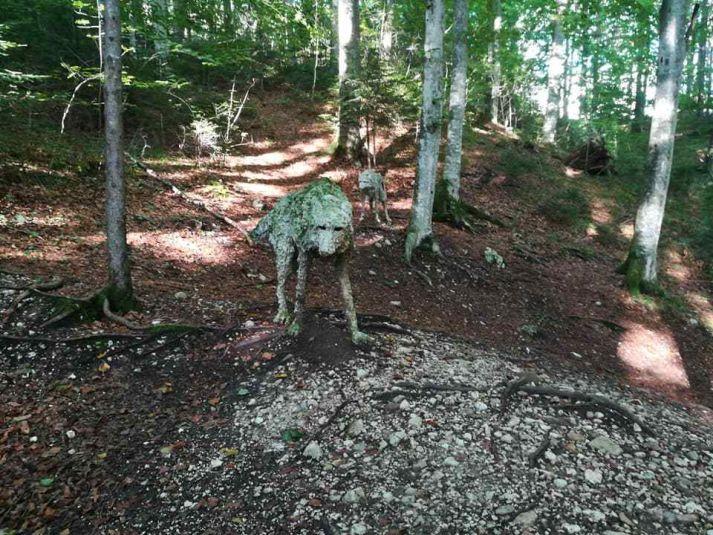 statue in legno a forma di lupo che sembrano vere