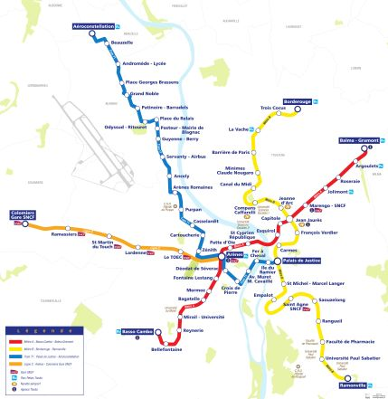mappa tram e metro tolosa
