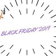 Black Friday 2019 titolo con immagine di donna che festeggia