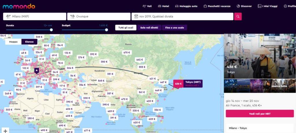 Volo conveniente per Tokyo dalla piattaforma momondo