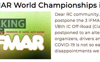 No habrá Campeonatos del Mundo IFMAR en 2020 !