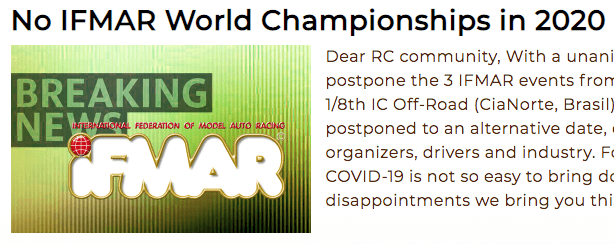 IFMAR news 2020 -No IFMAR World Championships in 2020