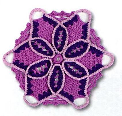 Piastrella viola e bianca alluncinetto  punti e spunti