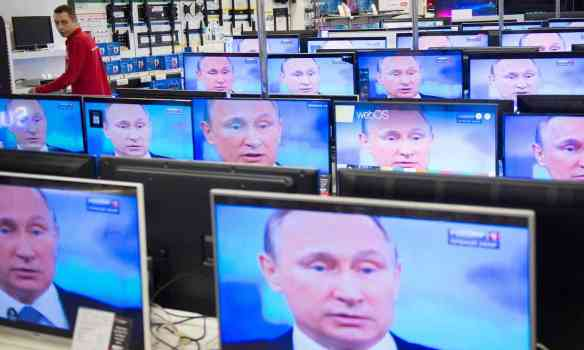 The report found that a multifaceted Russian campaign, going beyond the high-profile data breaches, included state-owned media and social media campaigns. Photograph: Alexander Utkin/AFP/Getty Images