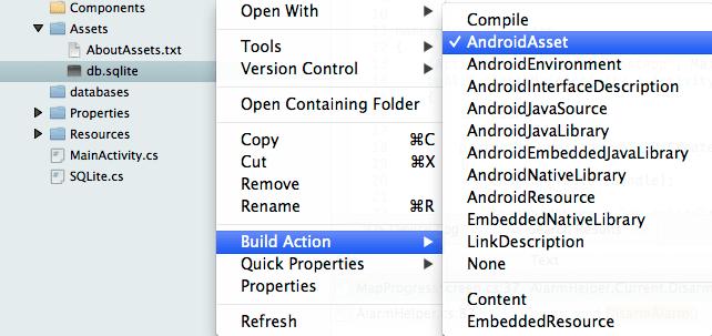 Embed SQLite database file as Asset in Xamarin Android – Pupli