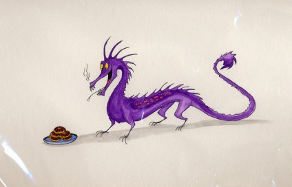 Purple dragon about to eat chocolate donuts
