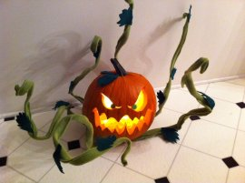 """Pumpkin for a contest at Turner Studios. It won """"Scariest""""!"""