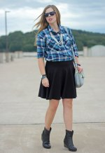 green-blue-plaid-shirt-black-skirt-2