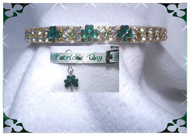 St Patrick's day dog collar