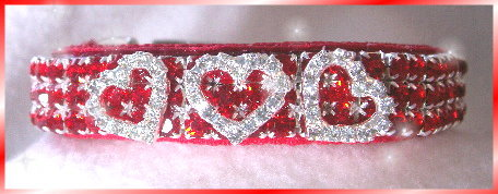 Red rhinestone dog collar with white hearts