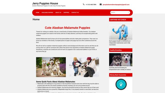 Jerrypuppieshouse.com - Malamute Puppy Scam Review