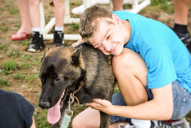 Autistic boy and his dog