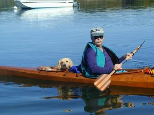dog in his new kayak