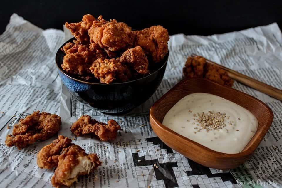 Crispy Buttermilk Popcorn Chicken with Creamy Honey Sesame Dip