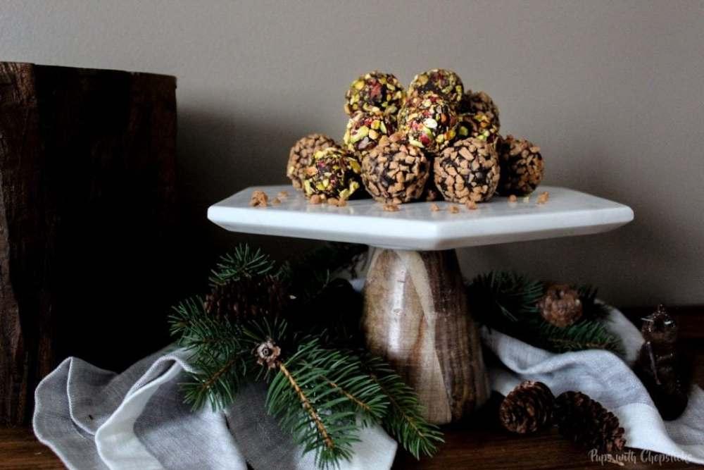 Toffee Orange Chocolate Truffles on a cake stand