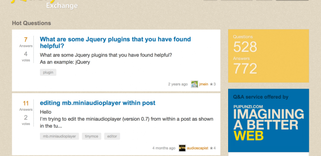 There's a new Jquery Exchange Q&A for Pupunzi