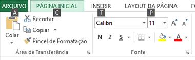 Faixa de Opções do Excel