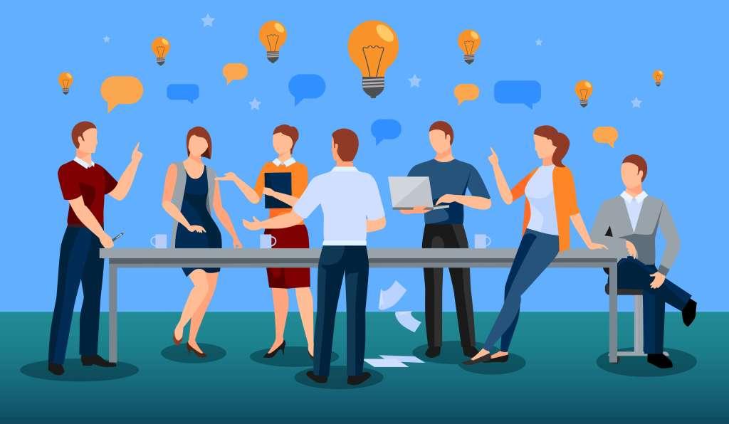 Equipe dando ideias