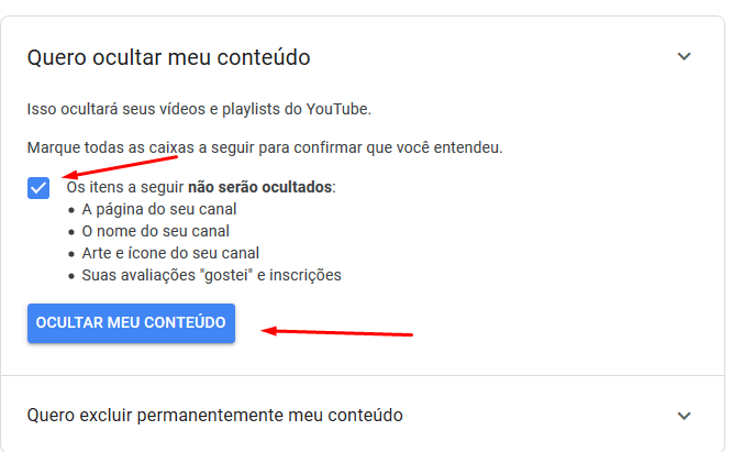 Detalhe sobre o que será ocultado de seu canal do Youtube