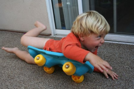 Eli Practicing His Paddeling