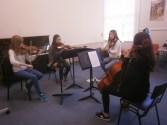 Stephanie Edmundsun coaching Mendelssohn String Quartet Op. 12 from the viola position, Jan 2015 Photo © Amy Furfaro