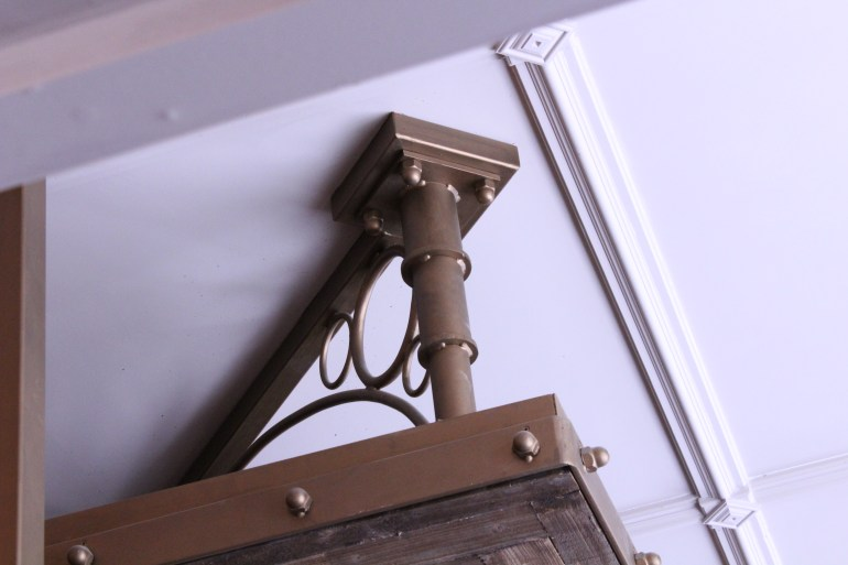 Faux corner tensioners (mild steel) with antique brass paint effect